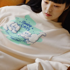 Sleepy Cats Sweat shirt (Ivory)